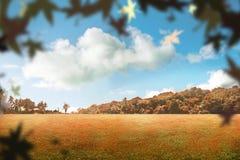 Πάρκο φθινοπώρου με τα μειωμένα φύλλα Στοκ Εικόνα