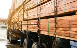 Πάρκο φορτηγών μεταφορών ξυλείας που περιμένει την επιθεώρηση Στοκ Εικόνες