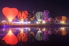 Πάρκο Chiang Rai Singha Σκιαγραφίες και θαμπάδα μπαλονιών Στοκ εικόνα με δικαίωμα ελεύθερης χρήσης