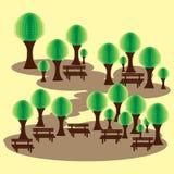 Πάρκο Eco με τους πάγκους και τον αφηρημένο πράσινο βόστρυχο Στοκ φωτογραφία με δικαίωμα ελεύθερης χρήσης