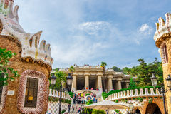 Πάρκο Guell από τον αρχιτέκτονα Antoni Gaudi στη Βαρκελώνη Στοκ φωτογραφίες με δικαίωμα ελεύθερης χρήσης
