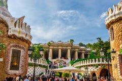 Πάρκο Guell από τον αρχιτέκτονα Antoni Gaudi στη Βαρκελώνη Στοκ φωτογραφία με δικαίωμα ελεύθερης χρήσης