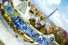 Πάρκο Guell από τον αρχιτέκτονα Gaudi σε μια θερινή ημέρα στη Βαρκελώνη, Ισπανία Στοκ φωτογραφίες με δικαίωμα ελεύθερης χρήσης