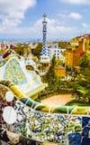 Πάρκο Guell από τον αρχιτέκτονα Gaudi σε μια θερινή ημέρα στη Βαρκελώνη, Ισπανία Στοκ εικόνα με δικαίωμα ελεύθερης χρήσης