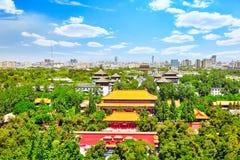 Πάρκο Jingshan, πανόραμα ανωτέρω στην πόλη του Πεκίνου Στοκ Εικόνες