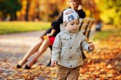 Πάρκο Mom και γιων το φθινόπωρο Στοκ φωτογραφίες με δικαίωμα ελεύθερης χρήσης