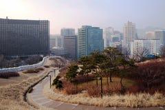 Πάρκο Namsan και κεντρική Σεούλ στοκ εικόνες