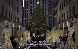 Πάρκο Rockefeller στο χρόνο Χριστουγέννων στην πόλη της Νέας Υόρκης Στοκ Εικόνες