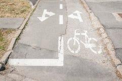 Πάροδος ποδηλάτων με το χρωματισμένο άσπρο σημάδι ποδηλάτων και βέλη στο έδαφος για τις κατευθύνσεις στοκ φωτογραφίες
