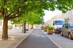Πάροδος ποδηλάτων μέσα στο κέντρο της πόλης Στοκ Φωτογραφία