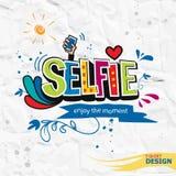 Πάρτε μια χέρι-εγγραφή χρώματος αποσπάσματος κινήτρου selfie Στοκ Φωτογραφία