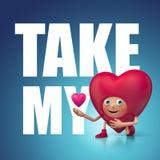 Πάρτε την καρδιά και την αγάπη μου. Αστεία ευτυχή τρισδιάστατα κινούμενα σχέδια Στοκ Φωτογραφίες