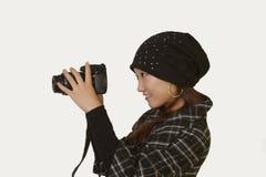 Πάρτε τη γυναίκα φωτογραφικών μηχανών Στοκ Εικόνες