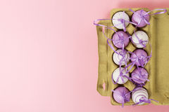 Πάσχα ή άνοιξη, έννοια τροφίμων Φρέσκα αυγά στο κιβώτιο για τα αυγά στο pi Στοκ Φωτογραφίες