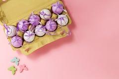Πάσχα ή άνοιξη, έννοια τροφίμων Φρέσκα αυγά στο κιβώτιο για τα αυγά στο pi Στοκ φωτογραφία με δικαίωμα ελεύθερης χρήσης
