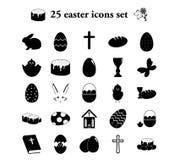 Πάσχα 25 απλά εικονίδια καθορισμένα Στοκ Εικόνα