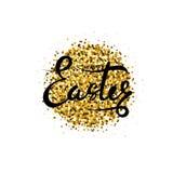 Πάσχα ευτυχές Διανυσματική εγγραφή με τα χρυσά μόρια η ανασκόπηση απομόνωσε το λευκό Γραπτή χέρι ευτυχής φράση Πάσχας Στοκ Εικόνες