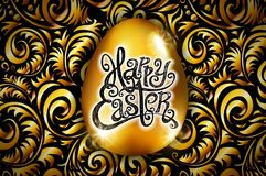 Πάσχα ευτυχές Εγγραφή καλλιγραφίας Όμορφη ευχετήρια κάρτα χρυσό αυγό με την αφηρημένη χρυσή διακόσμηση διάνυσμα χρησιμοποιώντας s απεικόνιση αποθεμάτων