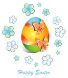 Πάσχα ευτυχές Ευχετήρια κάρτα με την εικόνα του αυγού Πάσχας, πολύχρωμη Στοκ εικόνα με δικαίωμα ελεύθερης χρήσης