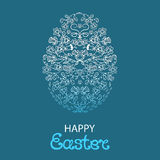 Πάσχα ευτυχές Πασχαλινό αυγό από τα λουλούδια και τα χορτάρια Απεικόνιση αποθεμάτων