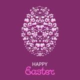 Πάσχα ευτυχές Πασχαλινό αυγό από τα λουλούδια και τα χορτάρια διανυσματική απεικόνιση