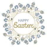 Πάσχα ευτυχές Πλαίσιο με τα λουλούδια και τα πασχαλινά αυγά διανυσματική απεικόνιση