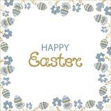 Πάσχα ευτυχές Πλαίσιο με τα λουλούδια και τα πασχαλινά αυγά Απεικόνιση αποθεμάτων