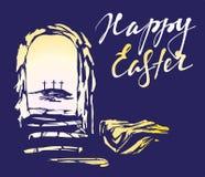 Πάσχα Ιησούς Χριστός αυξήθηκε από τους νεκρούς η Κυριακή πρωινού αυγή Ο κενός τάφος στο υπόβαθρο της σταύρωσης απεικόνιση αποθεμάτων