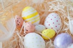 Πάσχα, χρωματισμένα αυγά, κίτρινος, άσπρα, σε έναν σανό, feathersa, αυγά κοτόπουλου, αυγά ορτυκιών, Στοκ φωτογραφίες με δικαίωμα ελεύθερης χρήσης