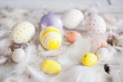 Πάσχα, χρωματισμένα αυγά, κίτρινο, άσπρο, άσπρο δέντρο, άσπρο υπόβαθρο, feathersa, αυγά κοτόπουλου, αυγά ορτυκιών, Στοκ Φωτογραφίες