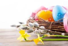Πάσχα Όμορφα ζωηρόχρωμα αυγά στη φωλιά με τα λουλούδια άνοιξη στοκ εικόνες