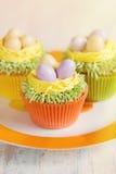 Πάσχα cupcakes που διακοσμείται με τα αυγά στη φωλιά Στοκ Εικόνες