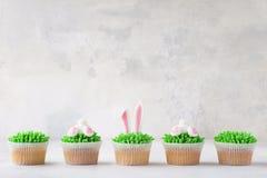 Πάσχα cupcakes σε μια σειρά Διακοσμημένος ως άκρη και αυτιά λαγουδάκι στοκ εικόνες