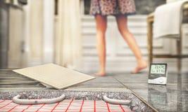 Πάτωμα κεραμιδιών με τη θέρμανση πατωμάτων στοκ εικόνα με δικαίωμα ελεύθερης χρήσης