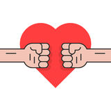 Πάλη για την αγάπη με δύο πυγμές Στοκ Εικόνα