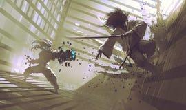 Πάλη μεταξύ του Σαμουράι και του ρομπότ στο dojo Στοκ εικόνα με δικαίωμα ελεύθερης χρήσης