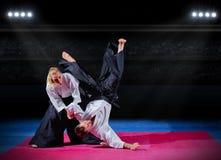 Πάλη μεταξύ δύο μαχητών πολεμικών τεχνών Στοκ Φωτογραφία