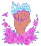 Πάλη όπως ένα κορίτσι Χέρι γυναίκας με τον ορείχαλκο χαλαζία κρυστάλλου knuckl απεικόνιση αποθεμάτων