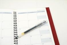 Πέννα σε ένα ημερολόγιο Στοκ εικόνα με δικαίωμα ελεύθερης χρήσης