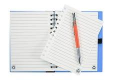 πέννα σημειώσεων βιβλίων η ανασκόπηση απομόνωσε το λευκό Στοκ Εικόνες