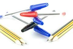 πέννες μολυβιών που τίθεν&t Στοκ Εικόνες