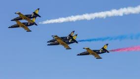 Πέντε από το άλμπατρος λ-39 Ρωσική aerobatic ομάδα Russ Στοκ Εικόνες