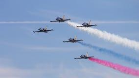Πέντε από το άλμπατρος λ-39 Ρωσική aerobatic ομάδα Russ Στοκ Φωτογραφίες