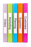 Πέντε αρχεία επιχειρησιακών φακέλλων χρωμάτων Στοκ εικόνα με δικαίωμα ελεύθερης χρήσης