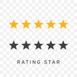 Πέντε αστέρια που εκτιμούν στο κίτρινο και μαύρο χρώμα σκιαγραφιών Στοκ Εικόνες
