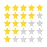 Πέντε αστέρων εκτίμηση Χρυσά και γκρίζα αστέρια που χρωματίζονται με μια τραχιά βούρτσα διανυσματική απεικόνιση