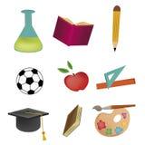 Πέντε εικονίδια για το σχολείο Στοκ εικόνα με δικαίωμα ελεύθερης χρήσης