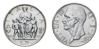 Πέντε 5 λιρέτες ασημώνουν τη γονιμότητα Vittorio Emanuele ΙΙΙ Fecondita νομισμάτων το 1937 βασίλειο της Ιταλίας Στοκ Εικόνες