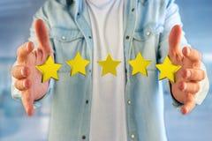 Πέντε κίτρινα αστέρια σε μια φουτουριστική διεπαφή - τρισδιάστατη απόδοση Στοκ φωτογραφία με δικαίωμα ελεύθερης χρήσης