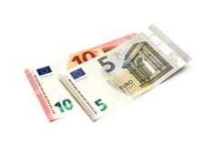 Πέντε και δέκα ευρώ Στοκ Φωτογραφίες